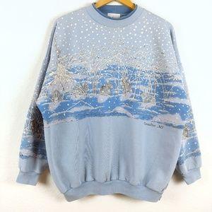 Vtg Bunny Snow Christmas 90s Mockneck Sweatshirt